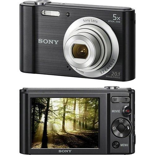 Câmera Digital Sony W800 20.1MP 5x Zoom Óptico Foto Panorâmica Vídeos HD - Preto