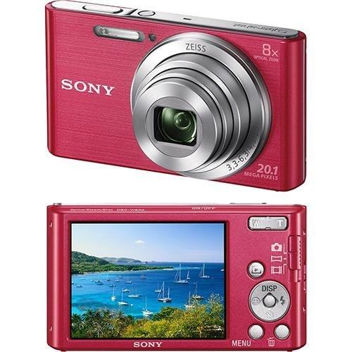Câmera Digital Sony W830 20.1MP, 8x Zoom Óptico, Foto panorâmica, Vídeos HD - Rosa