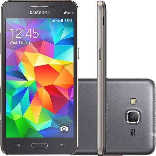 "Smartphone Samsung Galaxy Gran Prime Duos Tela 5"" 8GB 3G Wi-Fi Câmera 8MP - Cinza"