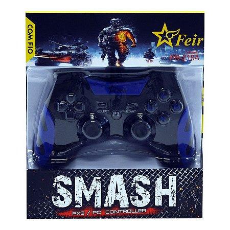 Controle Feir Smash PS3 PC com fio FR-218A - Azul