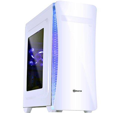 Gabinete Vinik MidTower VX Gaming Cyclone V2 Branco FAN Traseiro 80mm LED Azul Janela Acrílica 25341