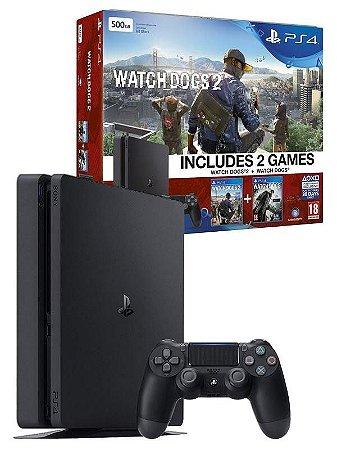 Console Sony Playstation 4 Slim Bundle Watch Dogs e Watch Dogs 2