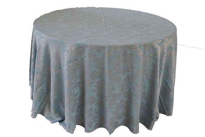 Toalha adamascada prata com azul