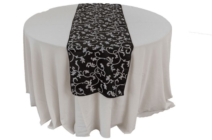 Caminho de mesa preto arabesco prata