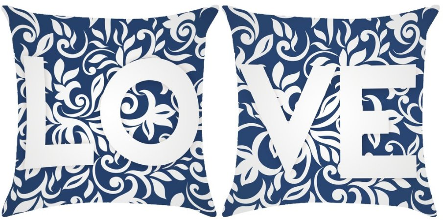 KIT Almofada digital LOVE azul marinho