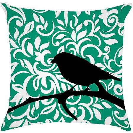 Almofada digital pássaro com arabesco verde