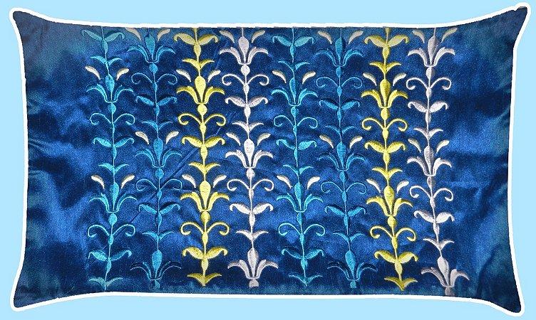 Almofada Bordada Indiana Azul 50x30cm