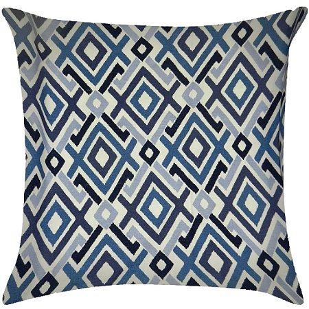 Almofada Geometrica azul marinho, azul ciano e azul claro