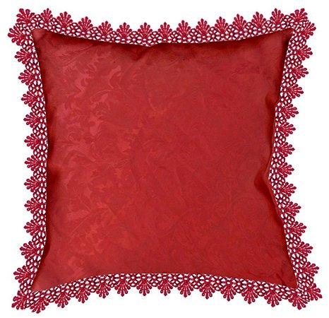 Almofada bordô com renda - 60x60cm