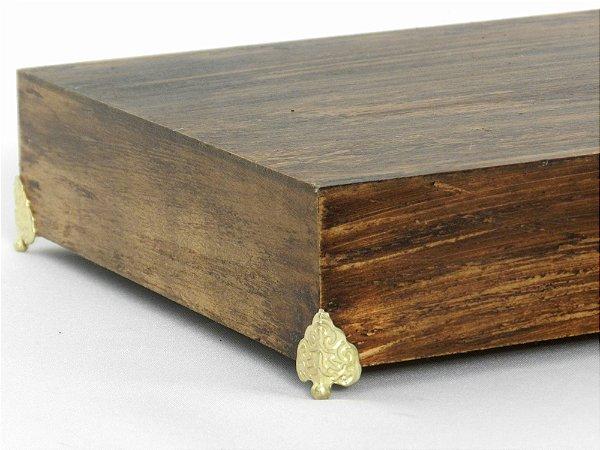 Bandeja madeira pé dourado - G