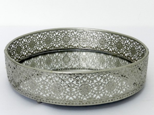 Bandeja rendada indiana similar prata - M