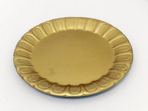Prato cerâmica dourado