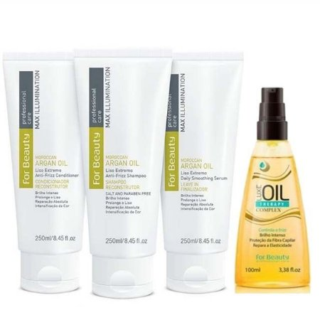 FOR BEAUTY KIT ARGAN MANUTENÇÃO SHAMPOO / CONDICIONADOR / LEAVE IN 250ml / LUXE OIL THERAPY 100ml