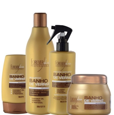 FOREVER LISS  KIT COMPLETO BANHO DE VERNIZ  SHAMPOO / QUERATINA / LEAVE-IN / MÁSCARA 250g