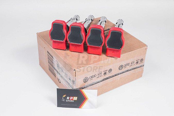 KIT 4 Bobinas Vermelhas R8 Genuinas Audi A3, A4, Jetta, Passat 06E905115F