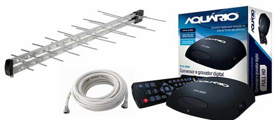 Kit Conversor E Gravador Digital Aquário Dtv-5100 Acompanha Cabo e Antena Hdtv Digital