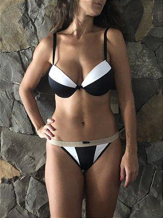 Conjunto lingerie Preto Branco e Nude