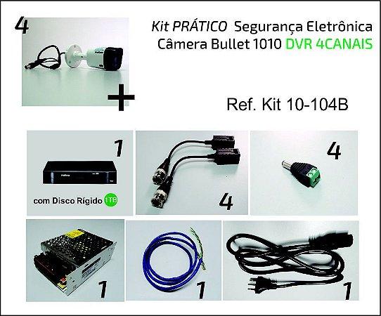 Kit 4 Câmeras Bullet VHD 1010 DVR 4 Canais COMPLETO para Instalar!!