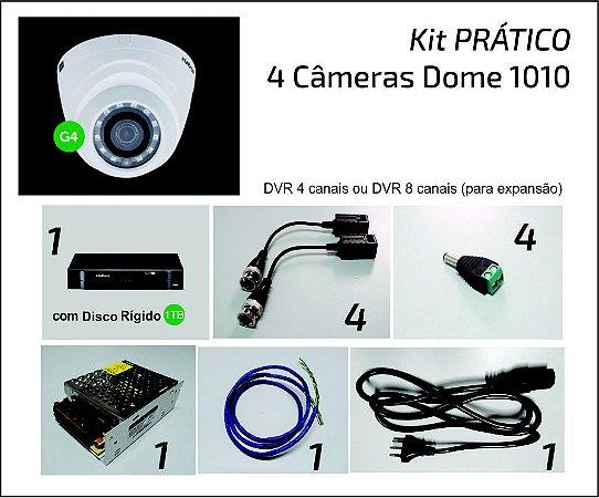 Kit 4 Câmeras Dome VHD 1010 DVR 4 ou 8 Canais COMPLETO para Instalar!!