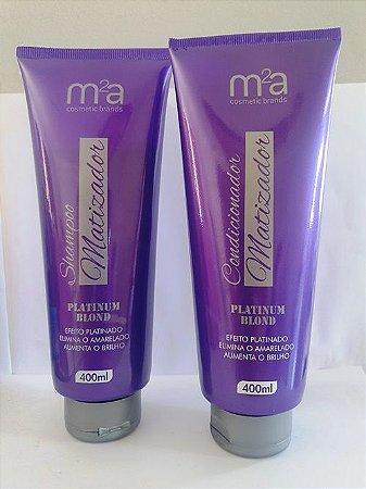 Kit shampoo e condicionador matizador platinum blond M²A 400ml cada