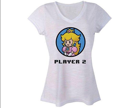 camiseta Feminina Nintendo Peach Super Mario