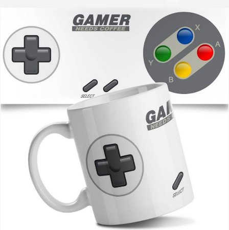 Caneca Joystick Gamer Needs Coffee