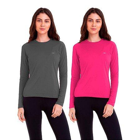Kit 2 Camisetas Femininas com Proteção UV50 Km10 Sports