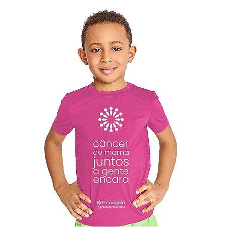 Camiseta Infantil UV50 Juntos a Gente Encara o Câncer de Mama