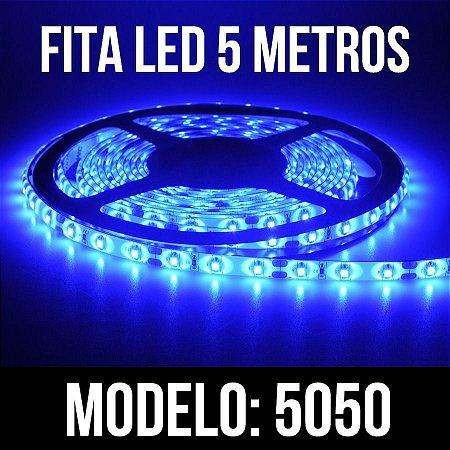 Fita Led 5050 - Azul - 300 Leds + Fonte - Prova D´agua