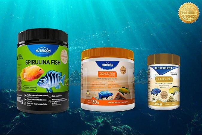 KIT NUTRICON CICLÍDEOS S.FISH 100g + C.F STICKS 130g + C. FISH CORES 50g