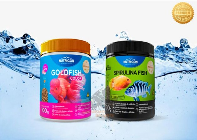KIT KINGUIOS NUTRICON GOLDFISH COLOR 100g + SPIRULINA FISH 100g