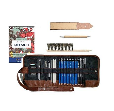 Estojo Kit Desenho Artístico Realista Lumograph 24 peças + Lixa + Escova Bigode + Prolongador + Bloco Fabriano