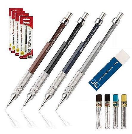 Kit Lapiseiras Pentel GraphGear 500 0,3mm 0,5mm 0,7mm 0,9mm em Blister