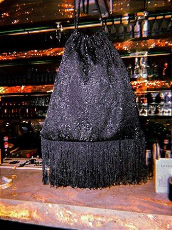 Bolsa saquinho jacquard & fringes black