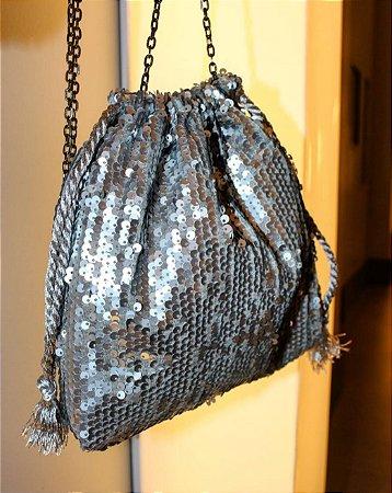 Bolsa saquinho paetês prata fosco