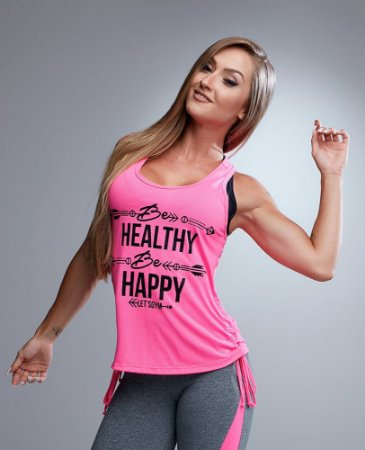 Blusa Be Happy Pink Let´s Gym