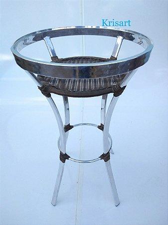mesa bistrô em aluminio e fibra sintética