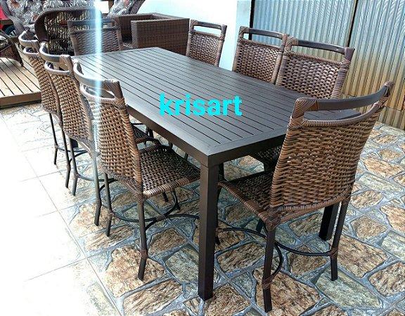conjunto de mesa ripada em alumínio e fibra sintética