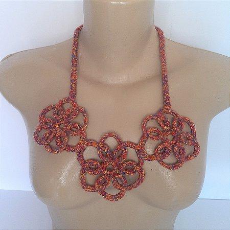 Maxi colar de crochê na moda flores tons de vermelho linha de algodão