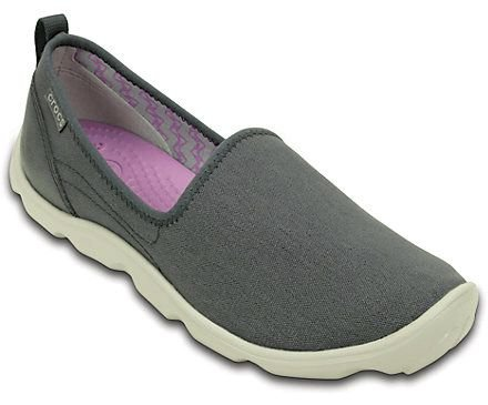 CALCADO DUET BUSY DAY CANVAS SKIMMER 201173 - CHARCOAL/PEARL WHITE