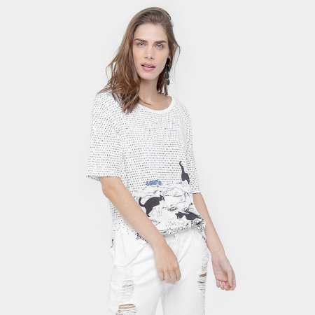 T-SHIRT SILK CAT ATACK 517682 - BRANCO