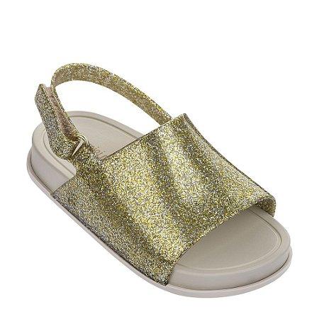 Mini Melissa Beach Slide Sandal - Dourado Glitter / Bege