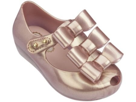 Mini Melissa Ultragirl Triple Bow - Rosa Doch Metalizado