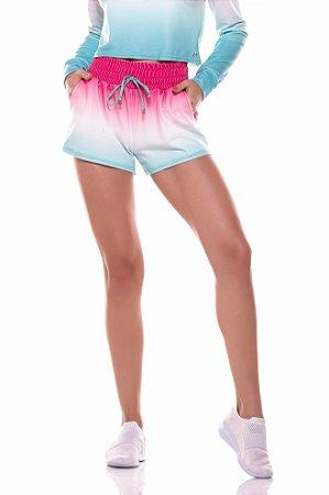 Shorts Vestem Hued Degradê Rosa Com Verde