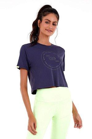 T-shirt Alto Giro Skit Fit Cropped Azul Movement