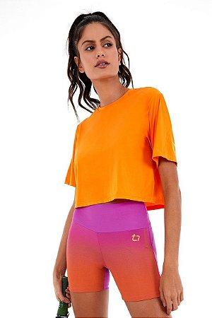 T-Shirt Alto Giro Superfine Play Laranja Persimmon