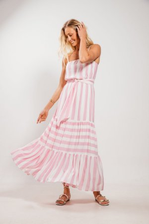 Vestido Slow Longo Listras Rosa