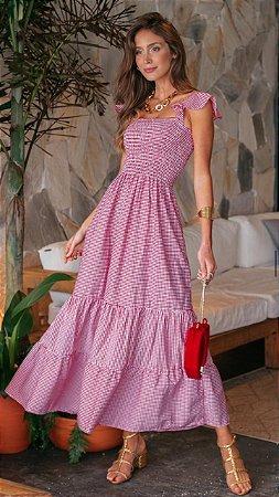 Vestido Aline Vichy Rosa *preview*