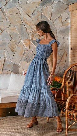 Vestido Aline Vichy Azul *preview*