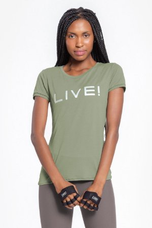 T-Shirt Baby Look Basic LIVE! Holographic Verde